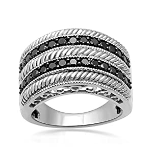 Jewelili Fashion Ring with 0.33 Cttw Black Diamonds in Sterling Silver