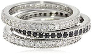 Sterling Silver Clear and Black Cubic-Zirconia Pave Band Three Stackable Ring Set, Size 6