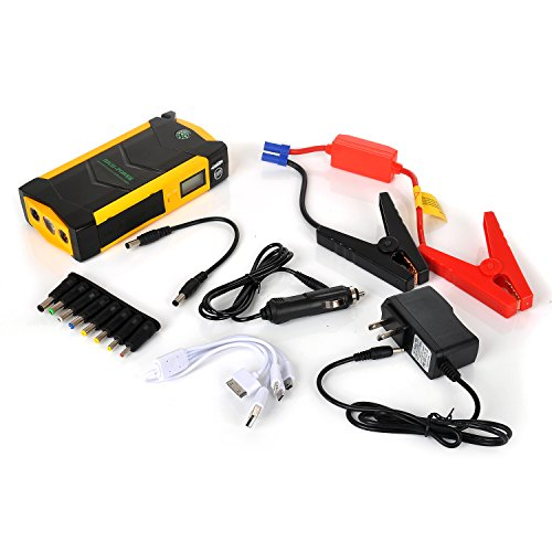 IVSO 600 A Spitzenstrom 20000mAh Portable Car Jump Starter Battery Booster Pack Smart Power Bank Charger with Compass + LCD Screen + LED Torch for Laptop, Phone, Tablet and More (Yellow) (Car Battery Display compare prices)