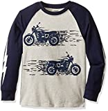 Gymboree Boys Big Boys Long-Sleeve Graphic Tee with Sleeve Detail, Grey Motorcycle, 5