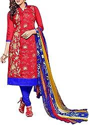 VIDA Women's Cotton Salwar Suit Material (Red)