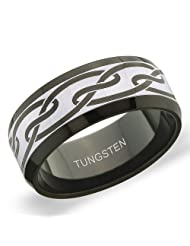 8 Mm Peora Tungsten Carbide Two Tone Interlocked Curvy Swirl Print Band Ring For Men (PTR716)