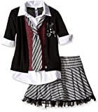 Beautees Girls 2 Piece Collar Cuff with Skirt and Matching Tie