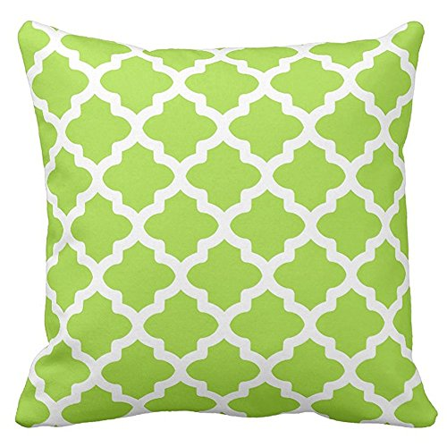 Decorative Square Lime Green Moroccan Quatrefoil Pattern Pillow Cover Cases Patterned For Bed Two Sides 20 x 20 Inches