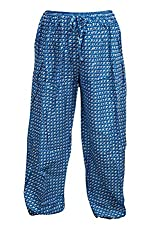 Indiatrendzs Women's Rayon Printed Blue Yoga Pant Evening Wear Harem Pants