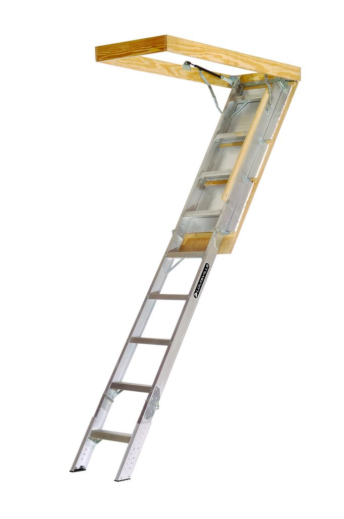 Louisville Ladder AA229GS Elite Aluminum Attic Ladder 350 Pound Capacity  22.5 Inch By 54 Inch Opening Ceiling Height 7 Foot 9 Inches