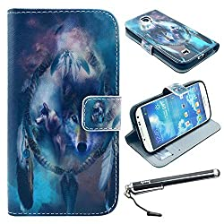 S4 Case, Galaxy S4 Case, Speedtek Wolf Pattern Premium PU Leather Wallet Flip Protective Skin Case with Magnetic Closure for Samsung Galaxy S4 i9500 (2013) (Built-in Credit Card/ID Card Slot)