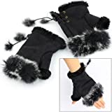Fashion Girls Ladies Rabbit Fur Hand Wrist Warmer Winter Fingerless Gloves Black