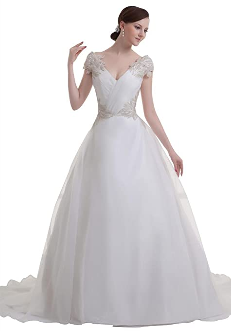 GEORGE BRIDE princess charming court train deep V-neck wedding dress