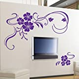 Butterfly Vine Flower Wall Art Stickers, Decals - Purple