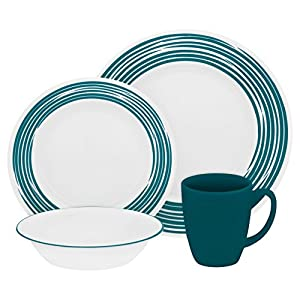 "Boutiqueâ""¢ Brushed 16-pc Dinnerware Set, Turquoise"