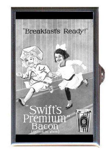 1914 Swift's Premium Breakfast Bacon Fun Ad, Guitar Pick or Pill Box USA Made