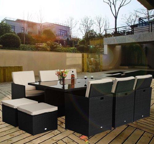 Outsunny - Set mobili da giardino in poly rattan 27pz set da pranzo con pouf contenitore portaoggetti telaio in alluminio
