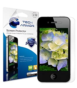 Tech Armor Apple iPhone 4 and 4S HD Clear Screen Protector with Lifetime Replacement Warranty [3-Pack] - Retail Packaging