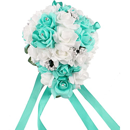 OurWarm® Teardrop Style Crystal Roses Pearl Bridal Bridesmaid Wedding Bouquet Artificial Silk Flowers Aqua Blue,1PCS