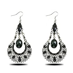 Sorellaz Black Water Drop Resin Dangle Earrings