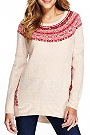 M&S Collection Fair Isle Longline Jumper with Wool [T38-7172-S]