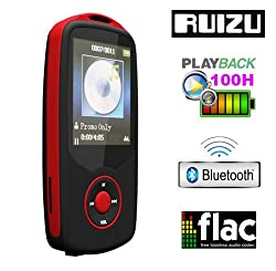 Gadget Heros RUIZU X06 Bluetooth Ultra Portable High Res. Multimedia Player, Supports FLAC APE FLAC APE MP3 WAV WMA. Built In 4 GB. 64Gb Micro SD Card Supported. Excellent Lossless Sound Reproduction. AV Player Voice Recorder FM Player Ebook Reader Calendar Alarm Clock. Red