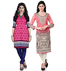 Vaamsi Women's PolyCotton Unstitched 2 Kurti Fabric(CKF1041_Multi-Coloured_Free Size)