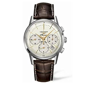 Longines Flagship Heritage Men's Quartz Watch with Beige Dial Analogue Display and Brown Leather Strap L47964782