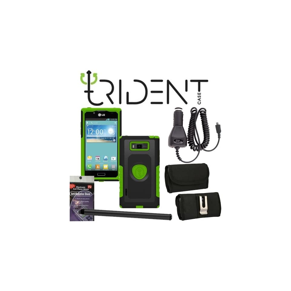 LG Splendor vs730 Trident Aegis Green Heavy Duty Protective Case Bundle Pack   5 items. Hard Shell and Silicone Gel, with Screen Protector and Car Charger, Stylus Pen, Radiation Shield and Horizontal Metal Clip Case that fits your phone with the Cover on i