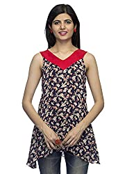 Indietoga Trendy Blue and Red Floral print asymmetric A-line Sleeveless Cotton top.