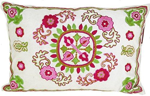 Design Accents Design Accents Kashmir Ornate Pillow - / Pink, Green, Velvet, 14L X 20W In.