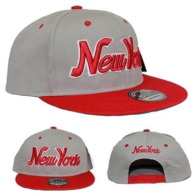 GREY/RED NEW YORK SNAPBACK FLAT PEAK CAP SUPER COOL RETRO LOOK