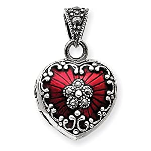 Click to buy Sterling Silver Red Enamel and Marcasite Heart Locket from Amazon!