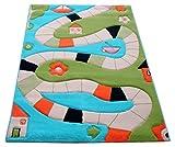 Little Helper IVI - Alfombra hipoalerg�nica grande y pila gruesa, dise�o por el rio, 160 x 230 cm, multicolor / turquesa
