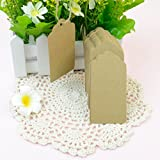 Outop 100pcs Wedding Brown Retangle Kraft Paper Tag Bonbonniere Favor Gift Tags with Jute Twines(100pcs)