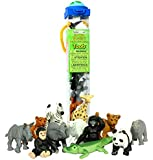 Safari Ltd Zoo Babies Toy Figurine TOOB With 12 Adorable Baby Animals Including a Baby Zebra, Panda, Leopard, Hippo, Chimpanzee, Rhino, Alligator, Gorilla, Elephant, Tiger, Polar Bear, and Giraffe.