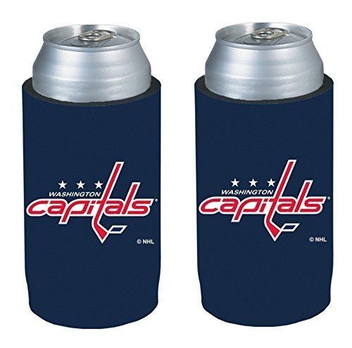 NHL Hockey Team Logo Ultra Slim Beer Can Holder Koozie 2-Pack (Washington Capitals) (Washington Capitals Beer Koozie compare prices)