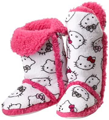 Hello Kitty Junior's Tall Sherpa Trim Slipper Bootie, White, Small