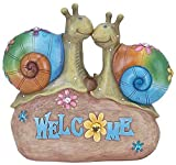 Bright Colored Snail Couple on Stone Rock Statue Sculpture, 10-inch, Welcome Home Garden Decoration