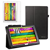 BIRUGEAR SlimBook Leather Folio Stand Case Cover with Screen Protector for Archos 101 Titanium 10-Inch HD IPS Display Android Tablet