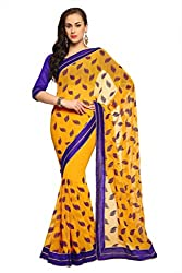 Anvi Deep Yellow chiffon designer saree with unstitched blouse (1549)