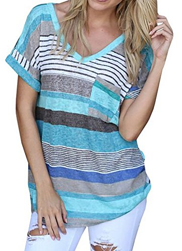 Donna V-neck Casual Short Sleeve T-shirt Blouse Tees Tops