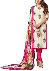 Angel Fashion Studio Women's Chanderi Unstitched Dress Material (White)
