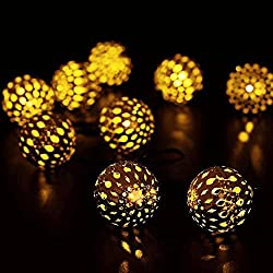 LUCKLED Moroccan Ball Solar String Lights, 11ft 10LED Fairy...