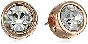 T Tahari Rose Gold Signature Stud Earrings with Crystal