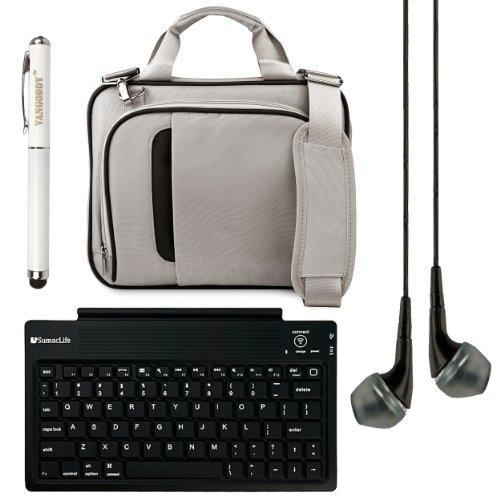 "Pinn Messenger Bag For Hannspree T7 Series 10.1"" Tablet + Bluetooth Keyboard + Vg Stylus Pen + Black Vangoddy Headphones (Silver & Black)"