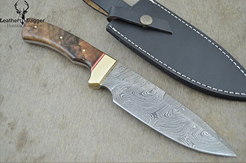 "Christmas Gift By Leather-N-Dagger | Professional High Quality Custom Handmade Damascus Steel Model-Year 2015 Bowie 11"" Hunting Knife (100% Satisfaction Guaranteed) Great Gift Ld194"