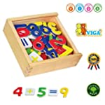 Wooden Magnetic Numbers 37 Pieces