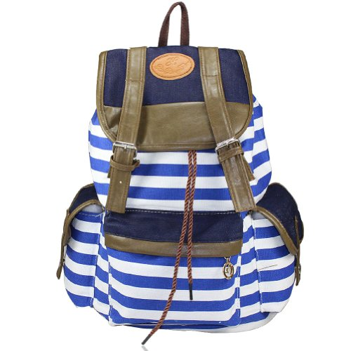 Sinobag®Unisex Fashionable Canvas School Bag Super Cute Stripe School College Laptop Bag Backpack For Teens Girls Boys Students