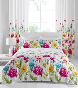 CHIC FLORAL DUVET COVER - Luxury Cotton Rich Yellow White & Pink Bedding Bed Set Pink, White & Yellow King Size Quilt Cover ( kingsize shabby