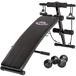 TecTake Banco de musculación -Dimensiones totales: aprox. 126 cm (largo) x 60 cm (ancho) x 70 cm (alto)- abdominales banco de pesas ejercicio fitnessplegable negro + 2 expansor cuerdas + 2 deporte pesas