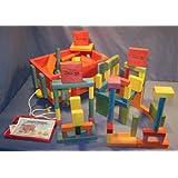 Wooden Toy Wagon - 4-Tier Wooden Wagon - W/(100) Building Blocks