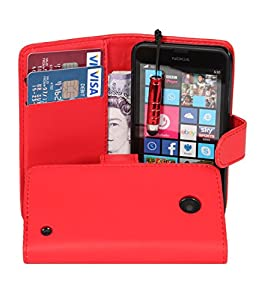 Connect Zone® - Red PU Leather Wallet Flip Case For Nokia Lumia 630 + Screen Protector & Mini Stylus