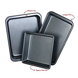 3-Piece Nonstick Bakeware Set, Square, Brownie and Lasagna Non-Stick Small Cake Baking Pan